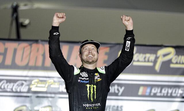 Kurt Busch celebrates after winning a NASCAR Cup Series auto race Sunday, Sept. 27, 2020, in Las Vegas. (AP Photo/Isaac Brekken)