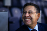 In this Friday, Nov. 8, 2019, photo, President of FC Barcelona Josep Bartomeu smiles during and interview with the Associated Press at the Camp Nou stadium in Barcelona, Spain. Bartomeu told The Associated Press on Friday that