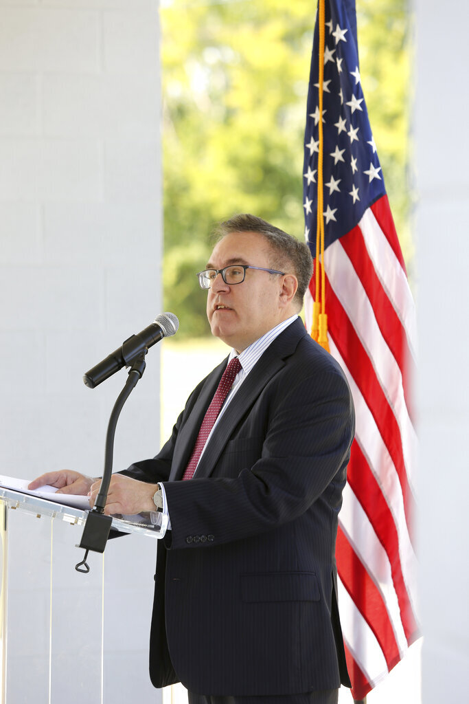 Environmental Protection Agency director Andrew Wheeler speaks about the release of the final report of the national Superfund Task Force, Monday, Sept. 9, 2019, at Southside Community Park in Chattanooga, Tenn (Erin O. Smith/Chattanooga Times Free Press via AP)