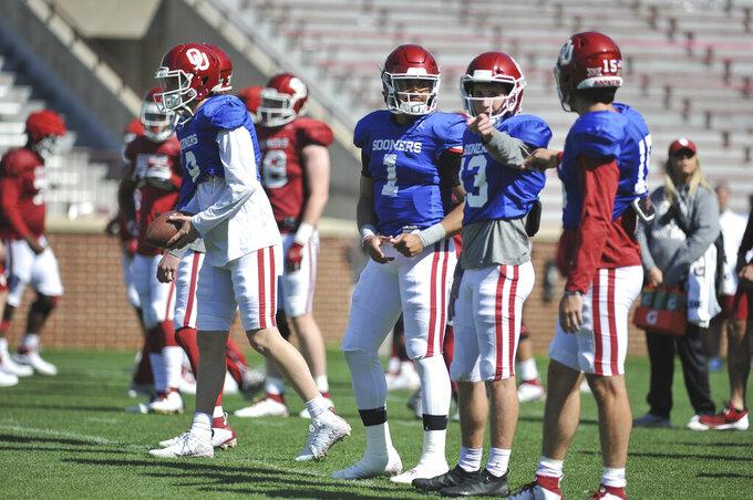 Oklahoma quarterback Jalen Hurst (1) during practice in Norman, Okla., Monday, April 1, 2019. (Kyle Phillips/The Norman Transcript via AP)