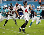 FILE - In this Aug. 10, 2017, file photo, Atlanta Falcons quarterback Matt Simms (4) looks to pass the ball during the first half of an NFL preseason football game against the Miami Dolphins, in Miami Gardens, Fla. Simms has been re-signed by the Atlanta Falcons following a toe injury suffered by Kurt Benkert which changed the backup quarterback competition behind Matt Ryan. Simms played for the Atlanta Legends of the now-defunct Alliance of American Football after serving as the Falcons' No. 3 QB last year.(AP Photo/Lynne Sladky, File)