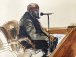 In this illustration drawn from a video feed, final R. Kelly defense witness, Julius Darrington testifies, Wednesday, Sept. 22, 2021, in New York. (AP Photo/Elizabeth Williams)