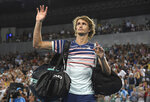 Germany's Alexander Zverev waves as he leaves Margaret Court Arena after defeating Spain's Fernando Verdasco in their third round singles match at the Australian Open tennis championship in Melbourne, Australia, Saturday, Jan. 25, 2020. (AP Photo/Andy Brownbill)