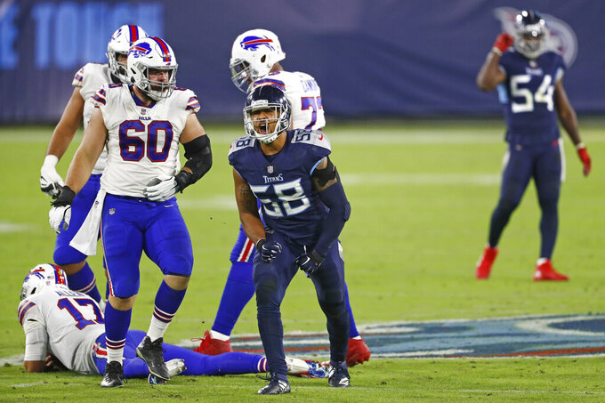 Tennessee Titans linebacker Harold Landry (58) celebrates after sacking Buffalo Bills quarterback Josh Allen (17) for a 10-yard loss in the first half of an NFL football game Tuesday, Oct. 13, 2020, in Nashville, Tenn. (AP Photo/Wade Payne)