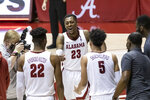 Alabama guard John Petty Jr. (23) celebrates after a win over Kentucky at an NCAA college basketball game, Tuesday, Jan. 26, 2021, in Tuscaloosa, Ala. (AP Photo/Vasha Hunt)
