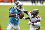 Tampa Bay Buccaneers linebacker Shaquil Barrett (58) chases Carolina Panthers quarterback Teddy Bridgewater (5) during the second half of an NFL football game Sunday, Sept. 20, 2020, in Tampa, Fla. (AP Photo/Jason Behnken)