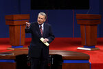FILE - This Oct. 3, 2012 file photo shows moderator Jim Lehrer addressing the audience before the first presidential debate at the University of Denver in Denver. PBS announced that PBS NewsHour's Jim Lehrer died Thursday, Jan. 23, 2020, at home. He was 85. (AP Photo/Charlie Neibergall, File)