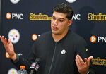 Pittsburgh Steelers quarterback Mason Rudolph answers questions during a news conference after the team's NFL football game against the Cleveland Browns, early Friday, Nov. 15, 2019, in Cleveland. The Browns won 21-7. (AP Photo/Ron Schwane)