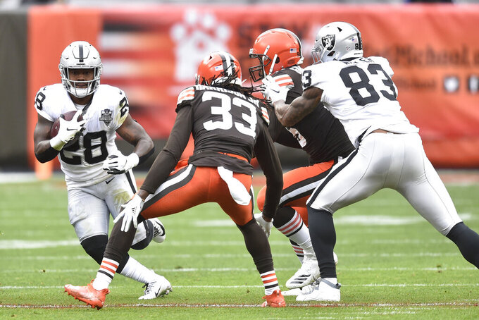 Las Vegas Raiders running back Josh Jacobs (28) rushes during the first quarter of an NFL football game against the Cleveland Browns, Sunday, Nov. 1, 2020, in Cleveland. (AP Photo/David Richard)