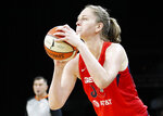 Washington Mystics' Emma Meesseman shoots against the Las Vegas Aces during the second half of Game 4 of a WNBA playoff basketball series Tuesday, Sept. 24, 2019, in Las Vegas. (AP Photo/John Locher)