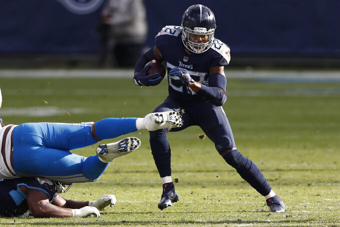 Tennessee Titans running back Derrick Henry runs against the Detroit Lions during the second half of an NFL football game Sunday, Dec. 20, 2020, in Nashville, Tenn. (AP Photo/Wade Payne)