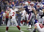 New England Patriots outside linebacker Scooby Wright (96) pressures New York Giants quarterback Alex Tanney (3) in the first half of an NFL preseason football game, Thursday, Aug. 29, 2019, in Foxborough, Mass. (AP Photo/Elise Amendola)