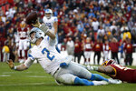 Detroit Lions quarterback Jeff Driskel (2) tries to throw a pass while being hit by Washington Redskins linebacker Ryan Anderson during the second half of an NFL football game, Sunday, Nov. 24, 2019, in Landover, Md. The Redskins won 19-16. (AP Photo/Alex Brandon)