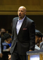Georgia State coach Rob Lanier shouts during the first half of the team's NCAA college basketball game against Duke in Durham, N.C., Friday, Nov. 15, 2019. (AP Photo/Ben McKeown)