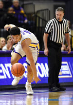 LSU guard Skylar Mays (4) keeps his eyes on the ball after knocking it loose for a steal in the first half of an NCAA college basketball game, Wednesday, Jan. 23, 2019, in Baton Rouge, La. (AP Photo/Bill Feig)
