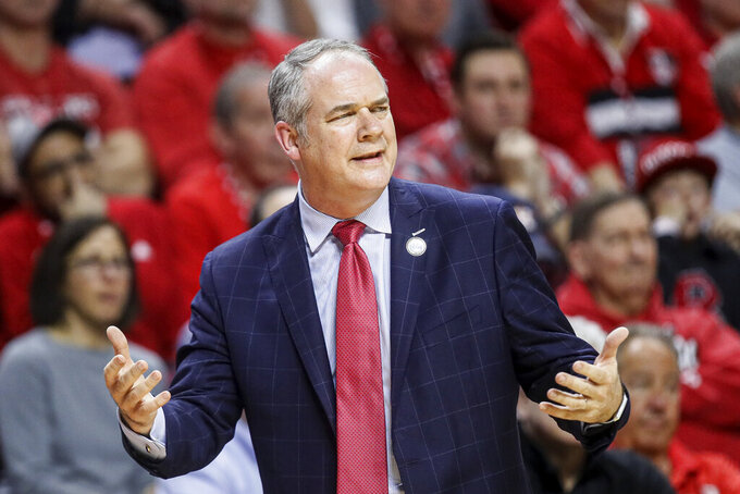 Rutgers coach Steve Pikiell reacts during the first half of the team's NCAA college basketball game against Maryland, Tuesday, March 3, 2020, in Piscataway, N.J. (AP Photo/John Minchillo)