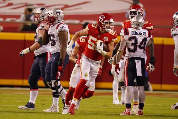Kansas City Chiefs linebacker Ben Niemann (56) celebrates after recovering a fumble by New England Patriots quarterback Brian Hoyer during the second half of an NFL football game against the New England Patriots, Monday, Oct. 5, 2020, in Kansas City. (AP Photo/Charlie Riedel)