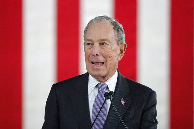 Democratic presidential candidate and former New York City Mayor Mike Bloomberg speaks at a campaign event in Raleigh, N.C., Thursday, Feb. 13, 2020. (AP Photo/Gerald Herbert)