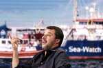 Italian Deputy Premier and Interior Minister, Matteo Salvini, attends a RAI state TV program in Rome, Wednesday, June 26, 2019. A German humanitarian ship carrying 42 migrants rescued off Libya two weeks ago is in Italian waters within sight of Lampedusa island in defiance of a ban by the country's hard-line interior minister. Interior Minister Matteo Salvini said he wouldn't allow any of the migrants to disembark and threatened Wednesday to deploy law enforcement. (Riccardo Antimiani/ANSA via AP)