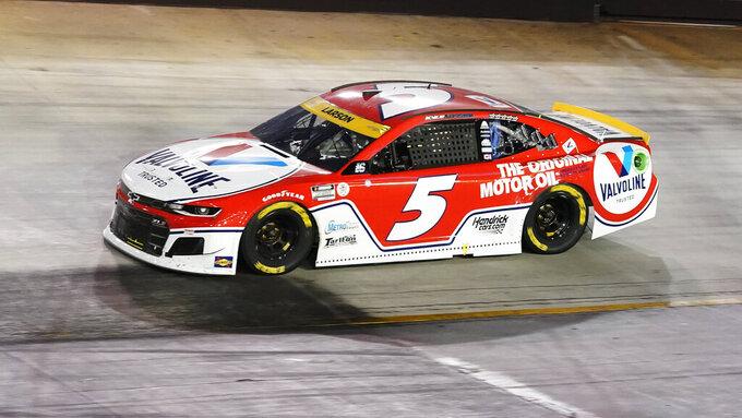 Kyle Larson drives during a NASCAR Cup Series auto race at Bristol Motor Speedway Saturday, Sept. 18, 2021, in Bristol, Tenn. (AP Photo/Mark Humphrey)