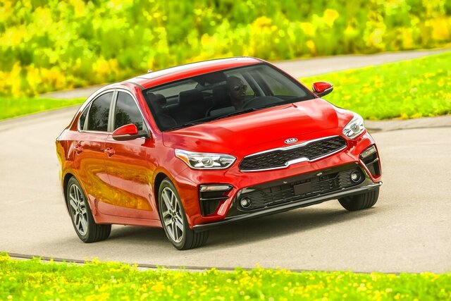 This photo provided by Kia Motors America shows the Kia 2021 Forte.  The Kia Forte is a sharp little four-door with lots of features and personality. Redesigned for 2019, the Forte has all the latest driver conveniences and safety features, as well as a cabin with a sporty design aesthetic and high-quality materials.  (Kia Motors America via AP)