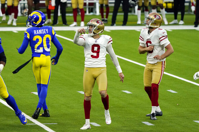 San Francisco 49ers kicker Robbie Gould follows through on his game-winning field goal during the second half of an NFL football game against the Los Angeles Rams Sunday, Nov. 29, 2020, in Inglewood, Calif. (AP Photo/Alex Gallardo)