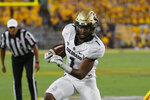 Colorado running back Jaren Mangham carries for a first down against Arizona State during the first half of an NCAA college football game Saturday, Sept. 21, 2019, in Tempe, Ariz. (AP Photo/Rick Scuteri)