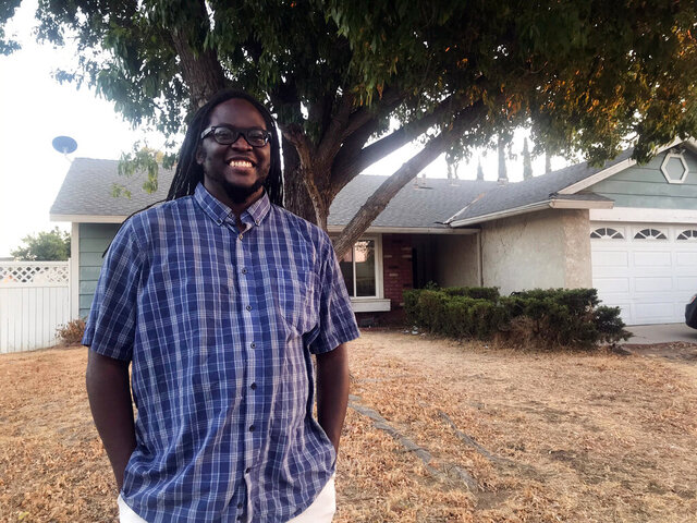 Darrin Johnson, a member of Black Skeptics Los Angeles, says his atheism is linked to social justice activism, poses Wednesday, Oct. 7, 2020, in Moreno Valley, Calif. (Alejandra Molina/RNS via AP)