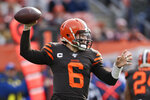 Cleveland Browns quarterback Baker Mayfield throws during the fist half of an NFL football game against the Cincinnati Bengals, Sunday, Dec. 8, 2019, in Cleveland. (AP Photo/Ron Schwane)
