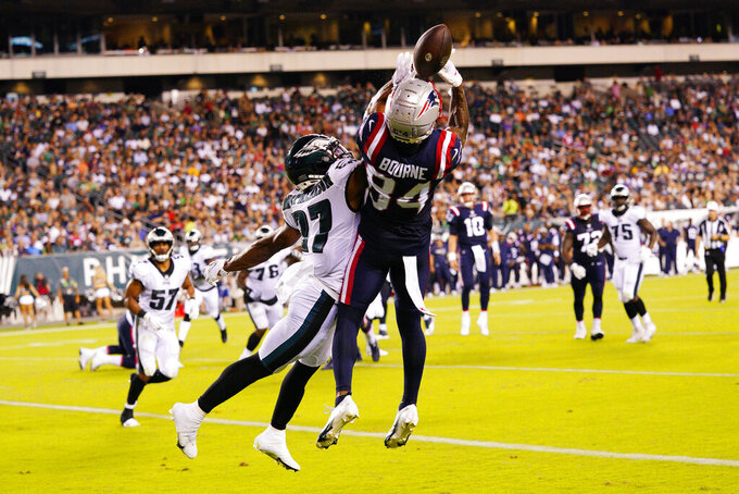 New England Patriots' Kendrick Bourne can't make the catch in front of Philadelphia Eagles' Zech McPhearson during the first half of a preseason NFL football game Thursday, Aug. 19, 2021, in Philadelphia. (AP Photo/Chris Szagola)