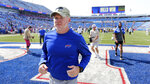 Buffalo Bills head coach Sean McDermott heads to the locker room after a 19-0 win over the Green Bay Packers during a preseason NFL football game, Saturday, Aug. 28, 2021, in Orchard Park, N.Y. (AP Photo/Jeffrey T. Barnes)