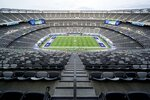 Seats sit void of fans before an NFL football game between the New York Giants and the Pittsburgh Steelers, Monday, Sept. 14, 2020, in East Rutherford, N.J. (AP Photo/Seth Wenig)