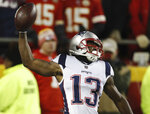 New England Patriots wide receiver Phillip Dorsett celebrates after making a touchdown reception during the first half of the AFC Championship NFL football game against the Kansas City Chiefs, Sunday, Jan. 20, 2019, in Kansas City, Mo. (AP Photo/Jeff Roberson)