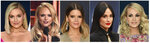 This combination photo shows, from left, Kelsea Ballerini, Miranda Lambert, Maren Morris, Kacey Musgraves and Carrie Underwood, who are nominated for Female Vocalist of the Year at the Country Music Association Awards on Wednesday. (AP Photo)