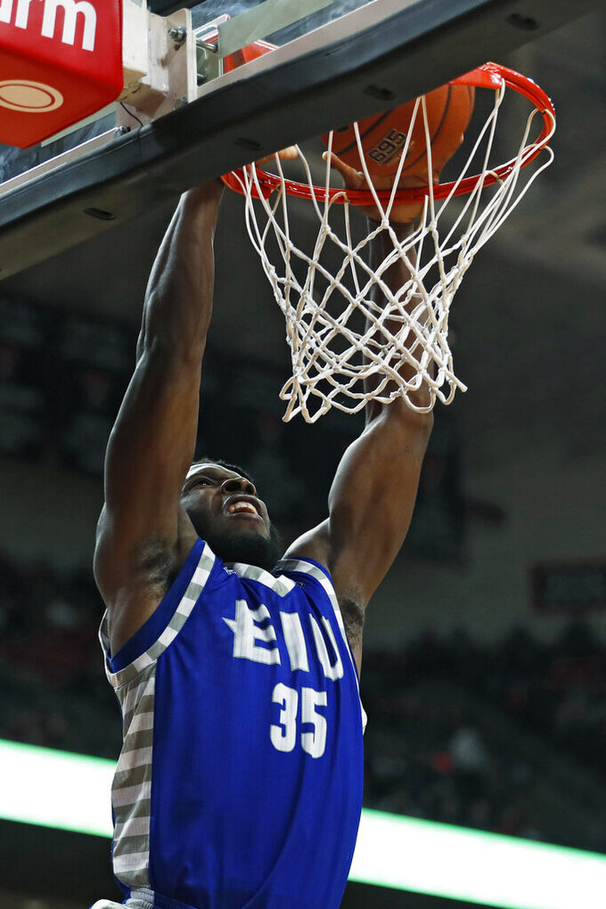 Eastern Illinois' George Dixon (35) dunks the ball during the second half of an NCAA college basketball game against Texas Tech, Tuesday, Nov. 5, 2019, in Lubbock, Texas. (AP Photo/Brad Tollefson)