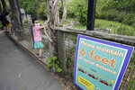 Ellie Davis, 6, of Boston, center, wears a mask out of concern for the coronavirus while visiting a tiger exhibit with her family, left, at the Franklin Park Zoo, Thursday, May 28, 2020, in Boston. The zoo was open to members only Thursday for the first time in about two months due to concerns about the coronavirus. Safety measures including one way paths and safe distancing have been implemented at the zoo. The zoo is to open to the general public starting June 4. (AP Photo/Steven Senne)