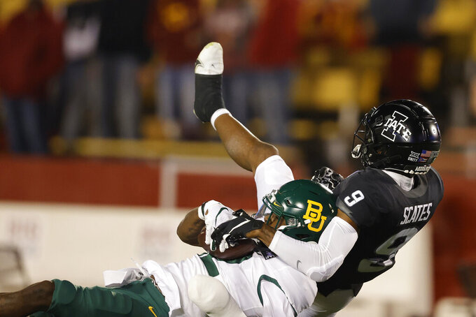 Baylor cornerback Kalon Barnes, left, intercepts a pass intended for Iowa State wide receiver Joe Scates during the first half of an NCAA college football game, Saturday, Nov. 7, 2020, in Ames, Iowa. (AP Photo/Matthew Putney)