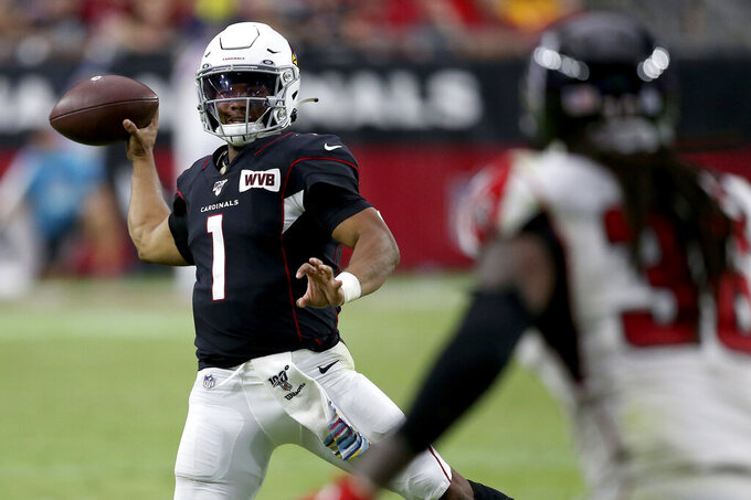 Arizona Cardinals quarterback Kyler Murray (1) throws against the Atlanta Falcons during the second half of an NFL football game, Sunday, Oct. 13, 2019, in Glendale, Ariz. (AP Photo/Ross D. Franklin)