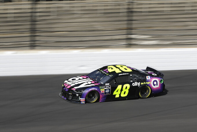Monster Energy NASCAR Cup Series driver Jimmie Johnson drives into turn one during practice for the NASCAR Brickyard 400 auto race at the Indianapolis Motor Speedway, Saturday, Sept. 7, 2019 in Indianapolis. (AP Photo/Darron Cummings)