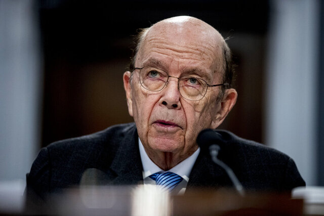 "FILE - In this Tuesday, March 10, 2020, file photo, Commerce Secretary Wilbur Ross testifies before a House Appropriations subcommittee on Capitol Hill, in Washington. A department spokesperson said Saturday, July 18, 2020, that Ross has been hospitalized for ""minor, non-coronavirus related issues."