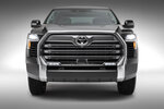 This photo provided by Toyota shows the 2022 Toyota Tundra Limited.  Toyota is dumping the big V8 engine in the latest redesign of its Tundra full-size pickup truck, a bold move in a market that likes big, powerful engines. The 381 horsepower, 5.7-liter V8 will be replaced by a base 389 horsepower 3.5-liter twin-turbo V6.  (Toyota via AP)
