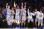 Duke players react from the bench during the first half of the first round of the 2K Empire Classic NCAA college basketball tournament against California, Thursday, Nov. 21, 2019, in New York. (AP Photo/Kathy Willens)