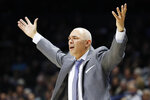FILE - In this Feb. 9, 2019, file photo, DePaul head coach Dave Leitao reacts during the second half of an NCAA college basketball game, in Cincinnati. The NCAA suspended men's basketball coach Dave Leitao for the first three games of the regular season Tuesday, July 23, 2019, saying he should have done more to prevent recruiting violations by his staff. The NCAA also put the Big East program on three years of probation, issued a $5,000 fine and said an undetermined number of games will be vacated because DePaul put an ineligible player on the floor. An unidentified former associate head coach is also facing a three-year show cause order for his role in the violations.(AP Photo/John Minchillo, File)