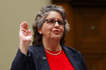 U.S. Federal Election Commission Commissioner Ellen Weintraub is sworn in to testify on Capitol Hill in Washington, Wednesday, May 22, 2019, before the House Oversight and Reform National Security subcommittee hearing on