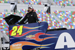 FILE  - In this Saturday, Feb. 15, 2020, file photo, Chad Knaus, crew chief for William Byron, watches a practice session for the NASCAR Daytona 500 auto race at Daytona International Speedway in Daytona Beach, Fla. Chad Knaus will move off the pit stand and into a management role with Hendrick Motorsports, ending his crew chief career after seven championships. Hendrick on Tuesday, Sept. 29, 2020, announced Knaus will move to vice president of competition.(AP Photo/Terry Renna, File)