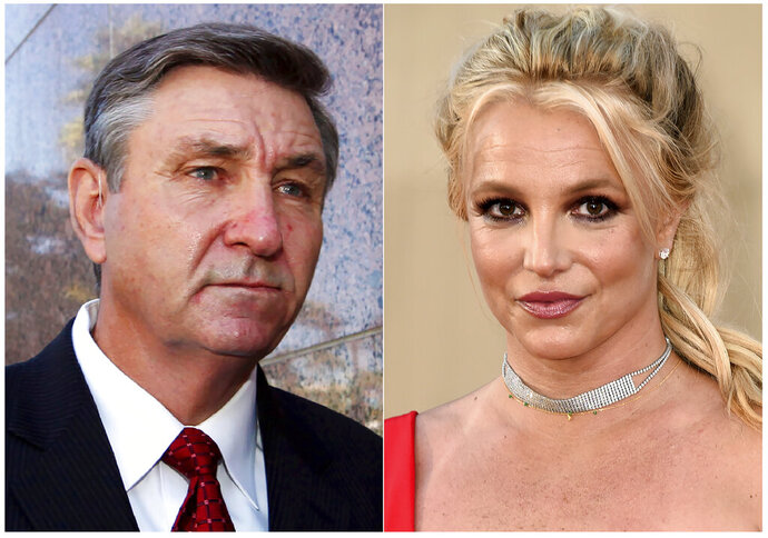 This combination photo shows Jamie Spears, father of singer Britney Spears, leaving the Stanley Mosk Courthouse in Los Angeles on Oct. 24, 2012, left, and singer Britney Spears at the Los Angeles premiere of