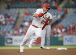 FILE - In this July 30, 2019, file photo, Los Angeles Angels' Mike Trout rounds second to advance to third from first on a single by Shohei Ohtani against the Detroit Tigers during the first inning of a baseball game in Anaheim, Calif. Trout was having another spectacular year for the Angels when right foot problems ended his season early. He did not play after Sept. 7 and was limited to 134 games. (AP Photo/Alex Gallardo, File)