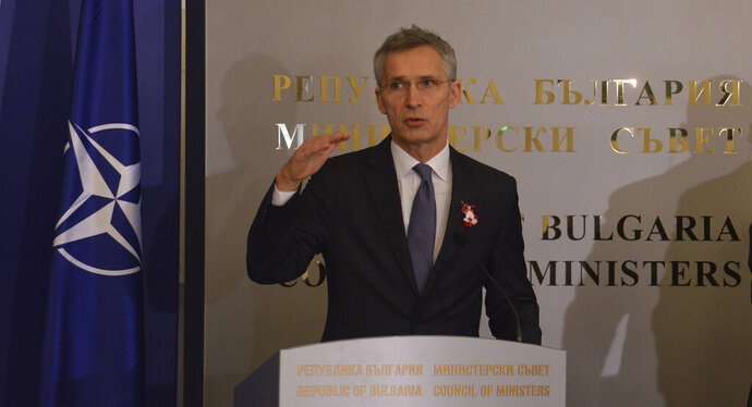NATO Secretary General Jens Stoltenberg speaks after his talks with Bulgarian Prime Minister Boyko Borisov during a news conference, at the Council of Ministers headquarters in Sofia, Bulgaria, Friday, March 1, 2019. (AP Photo)
