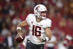FILE - In this Friday, Sept. 21, 2018, file photo, Washington State quarterback Gardner Minshew looks to pass during the first half of the team's NCAA college football game against Southern California, in Los Angeles. Washington State faces Stanford on Saturday, Oct. 27. (AP Photo/Jae C. Hong, File)