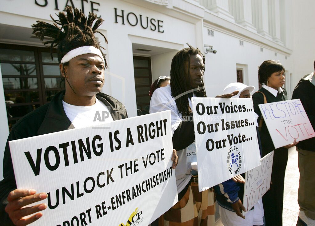 Associated Press Domestic News Alabama United States State legislatures PRISON VOTERS